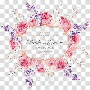 Faire-part de mariage, modèle de cartes de voeux de mariage, modèle d'invitation de mariage floral rose png