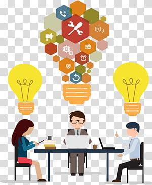 autocollant de remue-méninges, réunion de bureau, réunion d'affaires Puzzle bulbe png