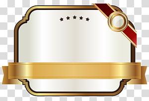 Ruban doré, étiquette blanche avec ruban doré, illustration de plaque dorée png