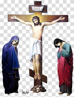 Jésus Christ sur la croix à côté de deux femmes illustration, Jésus Christ png