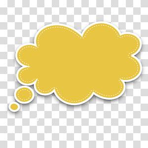 Motif de fruits cercle jaune, boîte de dialogue bulle de nuage jaune, illustration de nuage pense jaune png