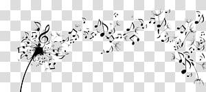 Note de musique Education musicale Durée Son, Black Notes de pissenlit volant png
