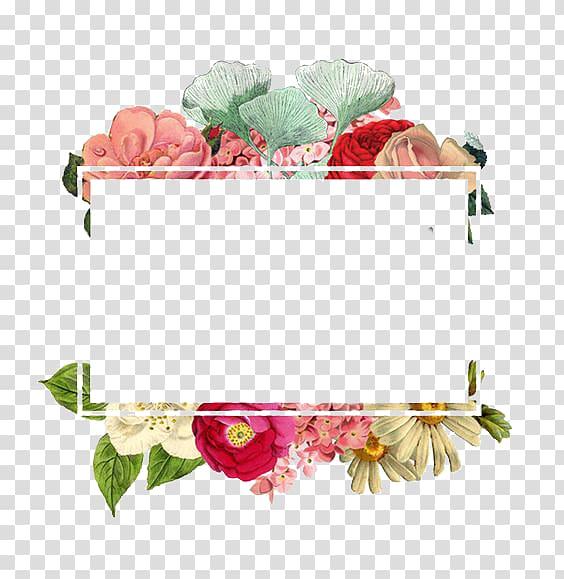 Logo de papier de fleur, bordure de fleurs, illustration de fleurs pétales assorties png