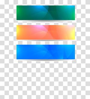 Affiche de bannière Web, matériel de bannières de couleur, trois décors de couleurs assorties png