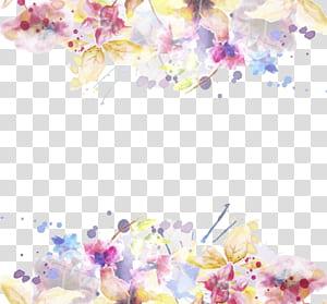 Modèle de fleur invitation de mariage, aquarelle d'encre peint matériel floral, fleurs pétales jaunes et roses png