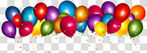 Ballon Confetti Party Gift Birthday, Ballons colorés avec Confetti Clipar, illustration ballon multicolore png