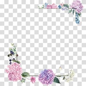 Bouquet de fleurs Design floral, frontières de fleurs pourpres, illustration du cadre floral rose et vert png