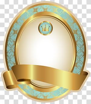 Papier pour étiquettes, gabarit d'étiquette de luxe bleu, logo représentant une couronne dorée et turquoise png