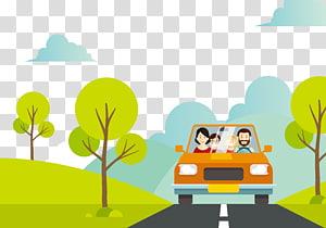 famille, véhicule, équitation, sur, route, illustration, dessin animé, vacances, famille, illustration, voyage famille png