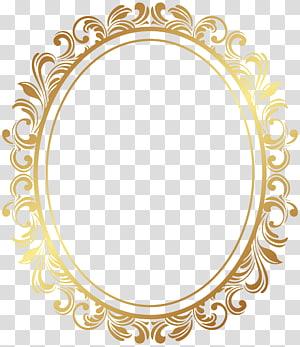 cadre, cadre ovale déco frontière, cadre orné or ovale png