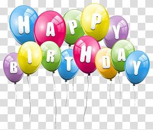 Ballon, joyeux anniversaire de ballons, illustration de ballons de couleurs assorties png