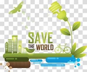 Sauver le monde, illustration de conservation de l'énergie, ville verte avec des ampoules à économie d'énergie png