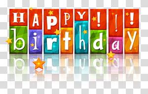 Gâteau d'anniversaire joyeux anniversaire, joyeux anniversaire coloré avec étoiles, panneaux de signalisation joyeux anniversaire png