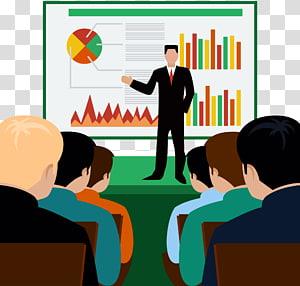 homme présentant une illustration graphique, cours de séminaire, formation png