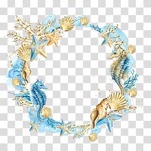 Faire-part de mariage Peinture à l'aquarelle Coquillage, couronne de coquillages étoile de mer, créatures marines et bleues png