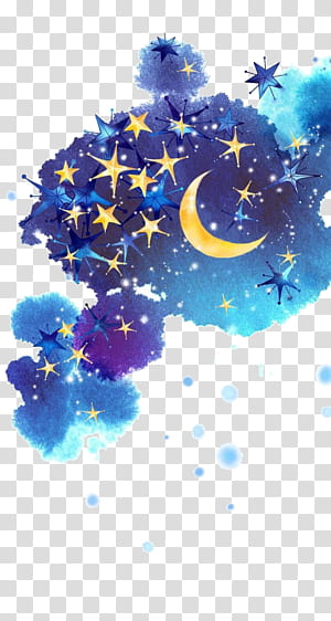 Star Moon Night sky, Ciel de nuit peint, nuage bleu et multicolore avec illustration d'étoiles png