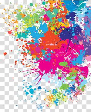 motif éclaboussure, peinture abstraite multicolore png