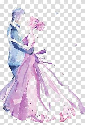 Invitation de mariage peinture à l'aquarelle dessin, hommes et femmes peints à la main, homme et femme dansant png