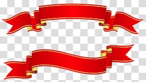 Bannière de papier ruban, bannières rouges, deux illustration de ruban rouge png