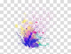 aquarelle de splat violet, rose, jaune et vert, peinture autocollant PicsArt Studio, édition de peinture, holi png
