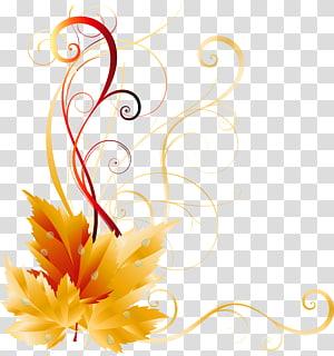 Couleur des feuilles d'automne, décor de feuilles d'automne, oeuvre florale jaune png