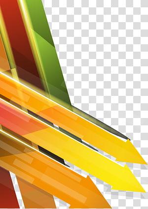illustration de flèches orange et jaune, flèche euclidienne, combinaison de flèche colorée de fond de technologie png