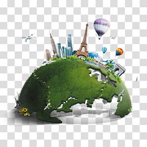illustration de globe, affiche publicité de conteneur de déchets d'information, ville de la terre verte s png