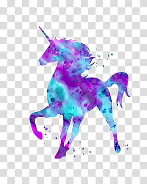 Mythologie de la Licorne, Licorne, Licorne violette et bleue png