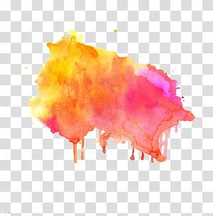 illustration de peinture éclaboussant multicolore, Illustration de peinture à l'aquarelle, encre de dessin gravée tachée Ombrage png