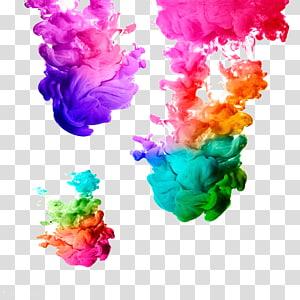 Fumée de couleurs assorties, peinture acrylique à l'encre peinture à l'aquarelle peinture à l'aquarelle, fumée colorée png