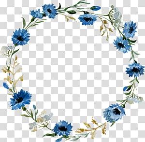 boarderline rond motif floral bleu et blanc, dentelle ronde antique png