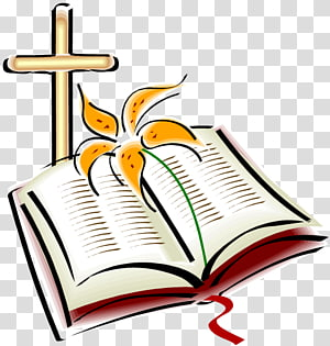 Bible avec fleur pétale jaune et croix, Bible Croix chrétienne Texte religieux, Format s de la Bible png
