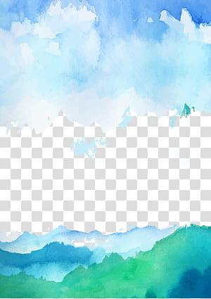 Ciel Cartoon Cloud, ciel de dessin animé, peinture de la nature png