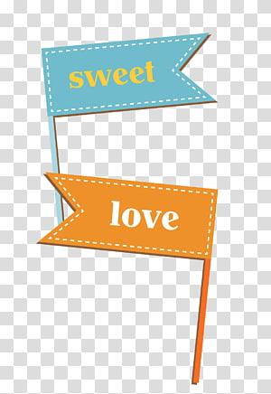 texte doux et d'amour sur fond marron, drapeau euclidien, bordure de bannière bleue créative png