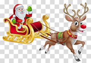 Santa Claus décoration de Noël, costume de père Noël, Noël Père Noël et luge, illustration du père Noël png