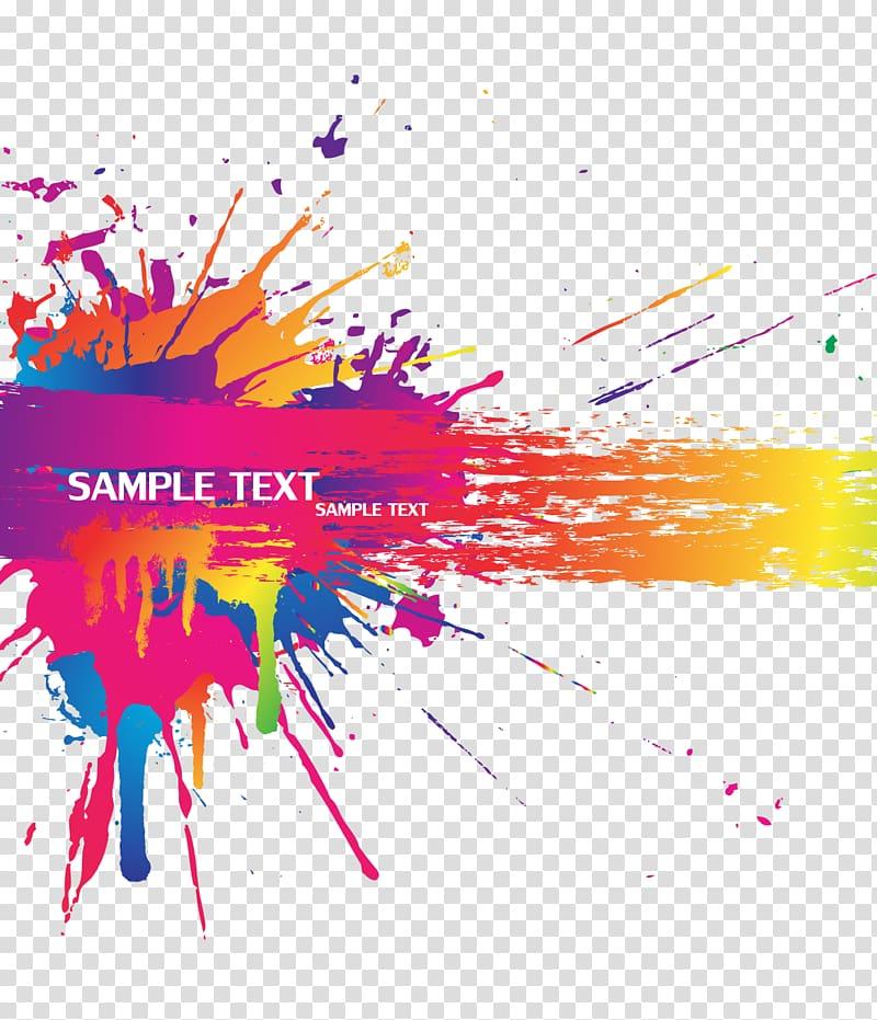 Color Splash, arrière-plan Splash couleur, exemple de signe de texte png