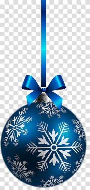 Décoration de Noël, décoration de Noël, grande boule de Noël bleue, boule bleue et blanche png