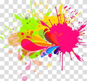 peinture abstraite multicolore, pinceau encre aquarelle, éclaboussure de peinture png