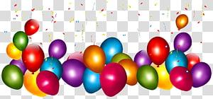 Ballons confettis, ballons colorés avec des confettis, confettis de ballons png