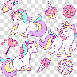 illustration de licorne blanche, illustration de dessin de Licorne, poney mignon png