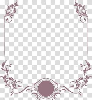 Invitation de mariage, matériau de conception de papier à en-tête de frontière élégante motif herbe bouclée, cadre fleuri brun png