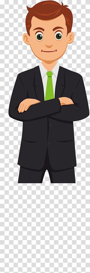 Cartoon Commerce, homme d'affaires de dessin animé, homme vêtu d'une veste de costume noire png