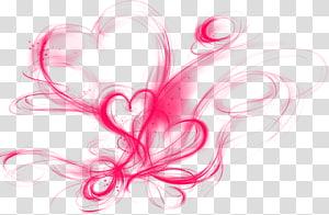 Couleur fumée, illustration de coeurs rouges png