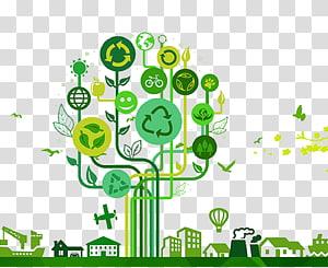 vert, recycler, arbre, illustration, respectueux de l'environnement, arbre, recyclage, symbole, écologie, créatif, vert, fond png