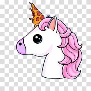 illustration animale blanche et rose, dessin de corne de licorne, arc-en-ciel de licorne png