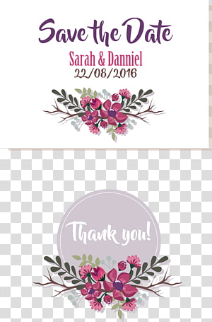 Faites-vous une idée de mariage, invitations de mariage mauve, Save The Date texte de Sarah & Danniel png