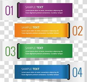 01 à 04 exemple de texte, étiquette de couleur numérique pour bannières peintes png