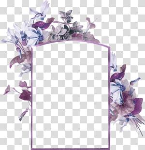 cadre rectangulaire avec illustration de fleurs, carte de visite de fleur de cadre de papier d'abeille, texture de bordure de fleurs fraîches pourpres png