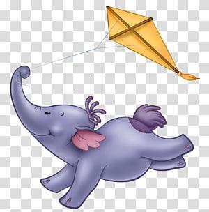 éléphant gris jouant le cerf-volant jaune, graphiques évolutifs d'éléphant, dessin animé mignon png