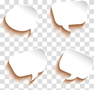 illustration de quatre boîtes de dialogue blanches, boîte de dialogue papier Dialogue de bulle, bulles de dialogue png